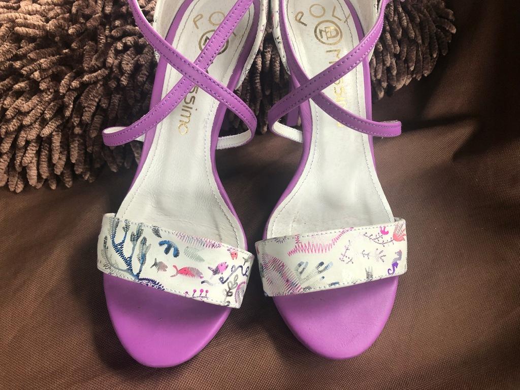 Sandałki biało fioletowe MASSIMO POLI