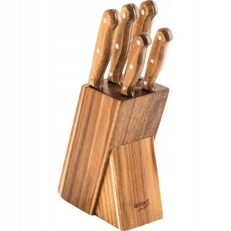 Zestaw 5 noży w bloku WOOD LT2080