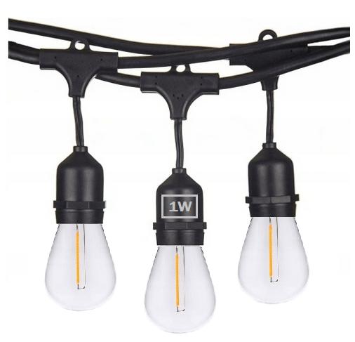 Girlanda Ogrodowa 20m +żarówki LED 1W E27 ⌀4,5cm