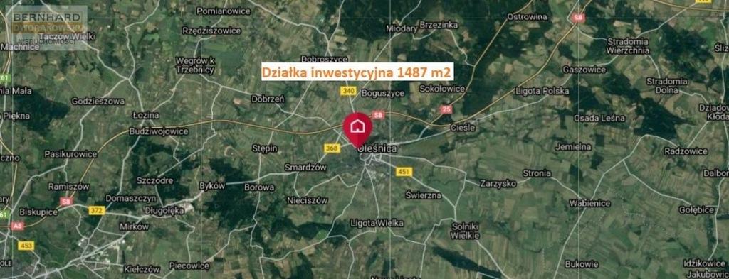 Działka, Oleśnica, Oleśnicki (pow.), 1487 m²