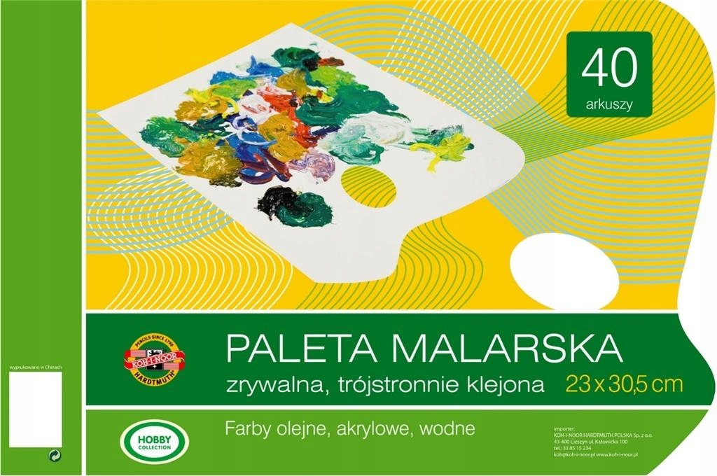 Paleta malarska 23x30 zrywalna 40 arkuszy