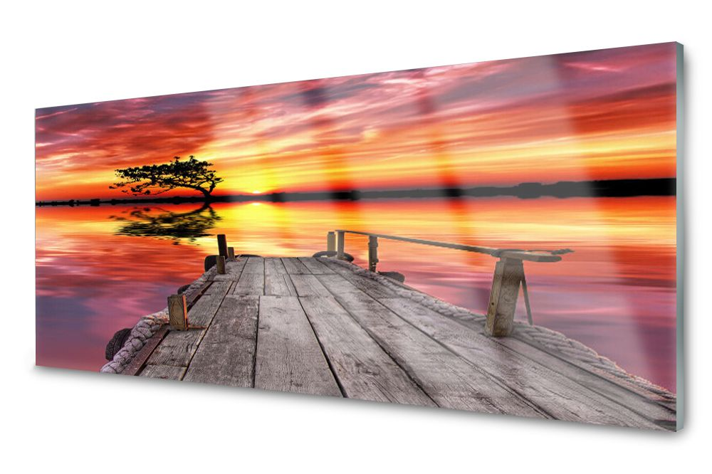 Lacobel Panel Szklany Ścienny Molo Jezioro 120x60