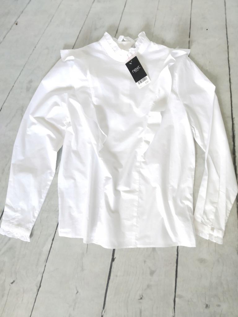 NEXT biała bawełniana koszula bluzka z falbankami  GTLCk