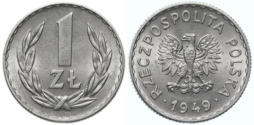 224.Polska - PRL - 1 złoty - 1949 - St.1- #A