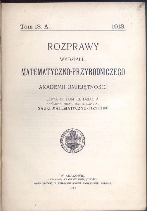 Rozprawy Wydziału Mat-Przyrodniczego Akademii U.