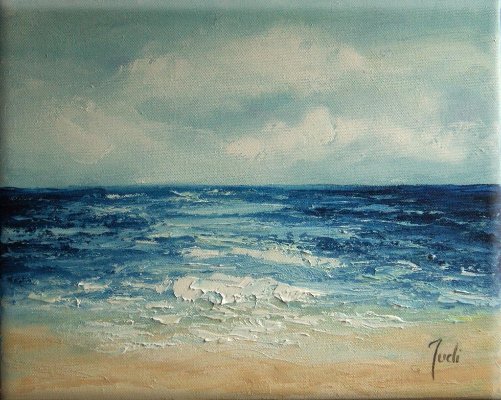 JUDIART obraz olejny plaża fale _Morze_