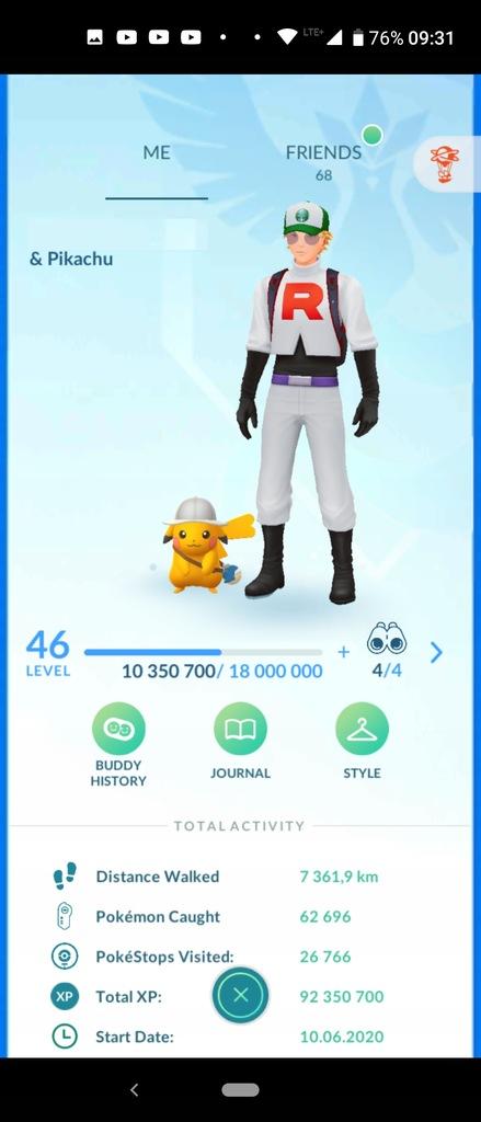 Pokemon Go konto 46 lvl Legacy Mystic Własny Nick