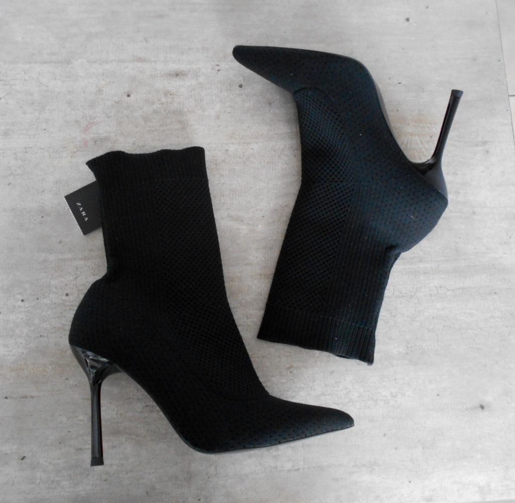 Zara czarne botki szpilki szpic miękkie neopren 38