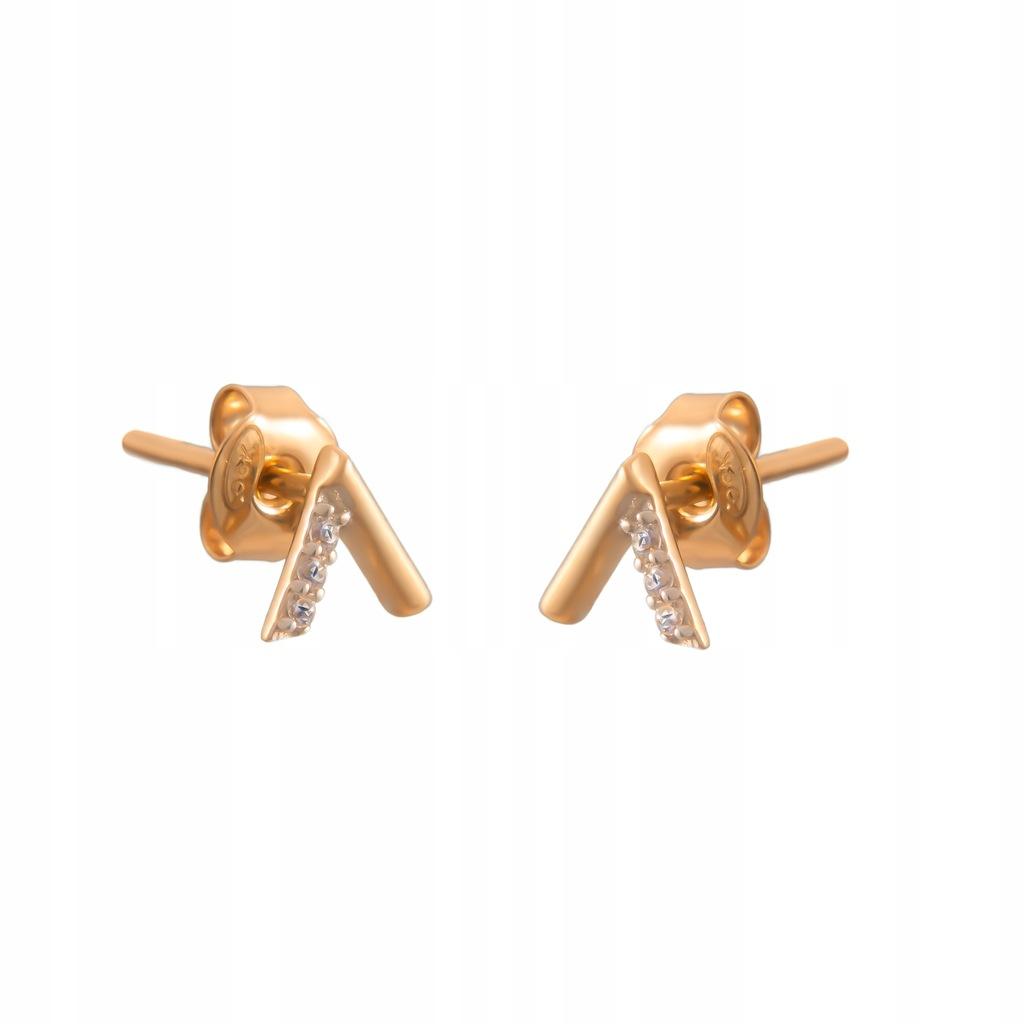 Złote DZIECIĘCE Kolczyki Sztyft pr585 V Cyrkonie