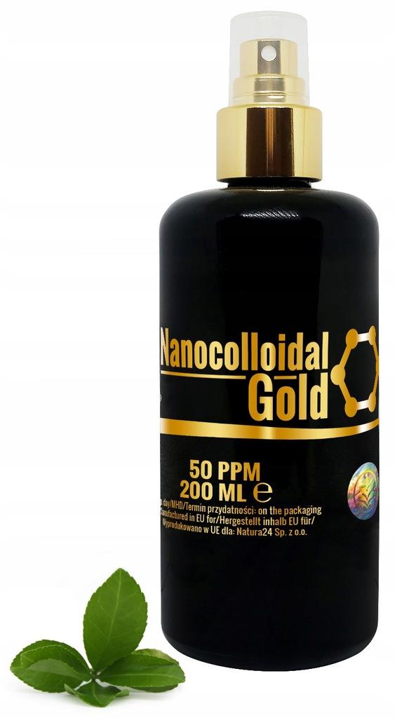 Złoto koloid w butelce z fioletowego szkła 50ppm