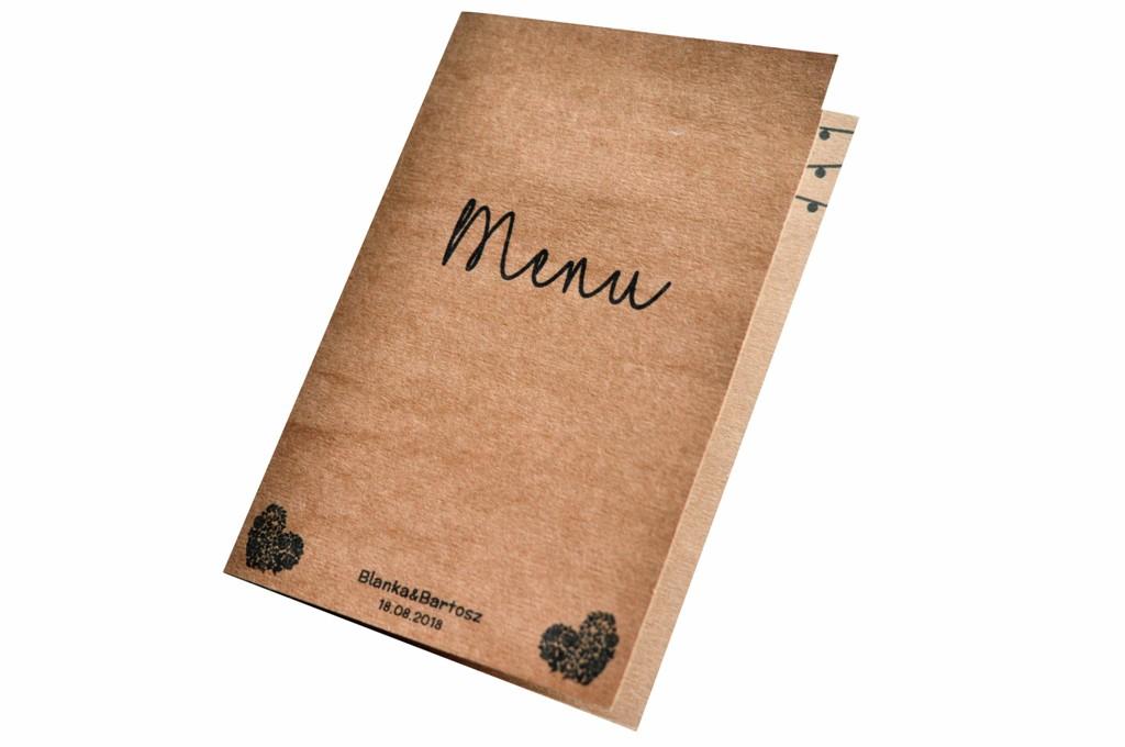 Menu weselne karta dań drink menu eko rustykalne