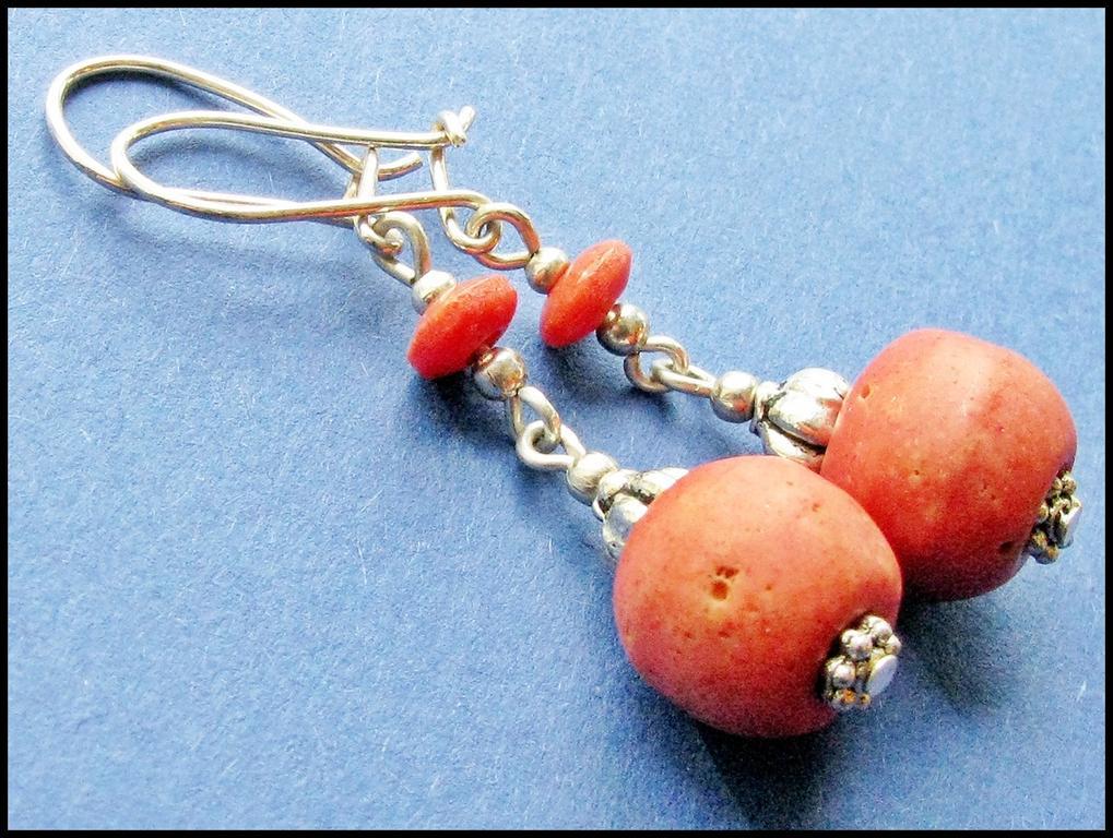 Kolczyki srebro i koral
