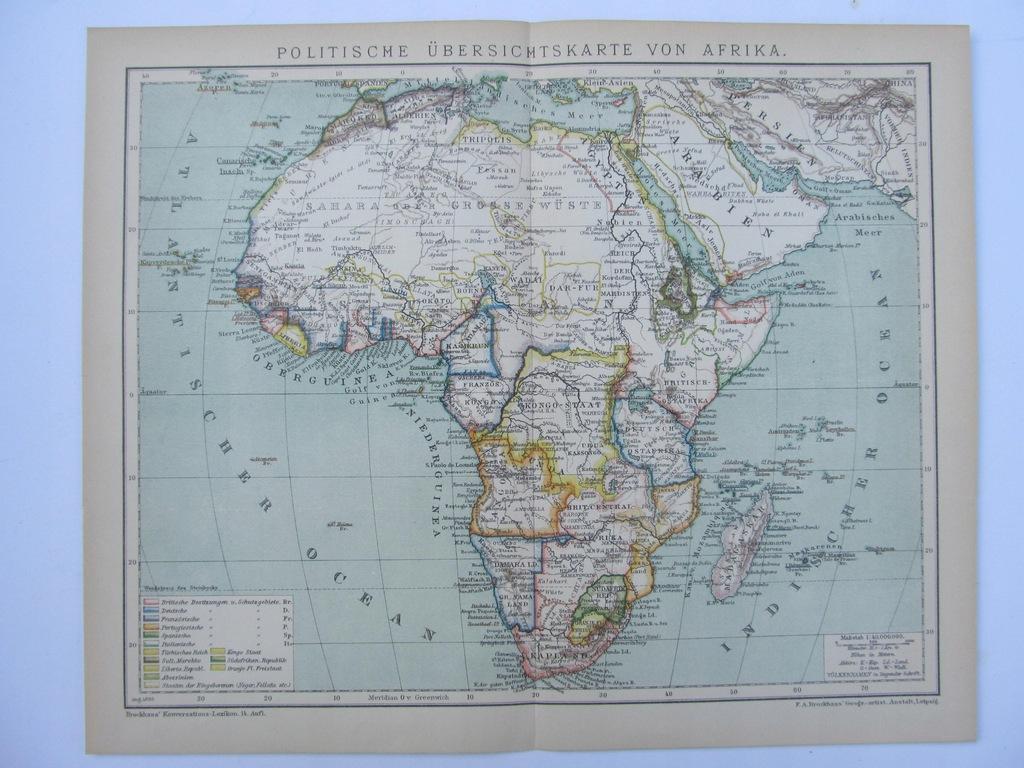 AFRYKA mapa polityczna 1898 r.