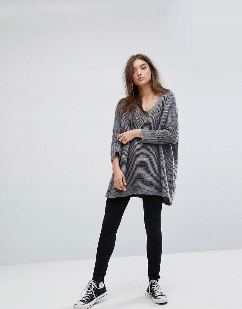 NOISY MAY szary sweter oversize M