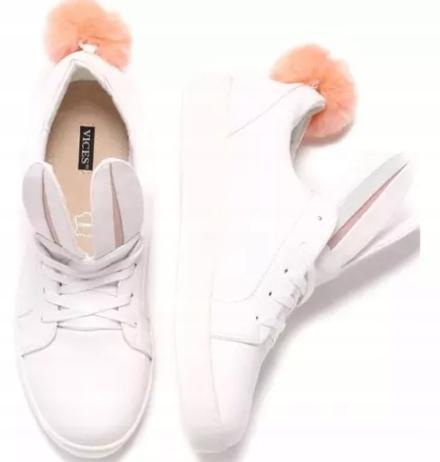 Białe Buty Sportowe 38 VICES KRÓLICZEK pompon uszy