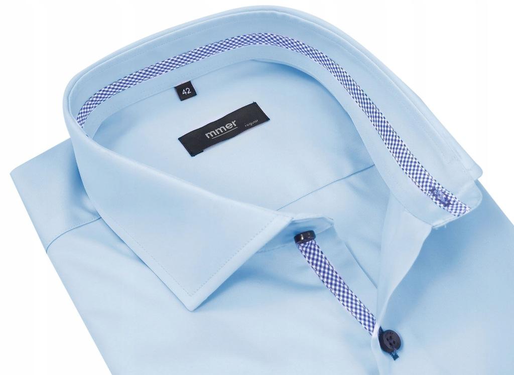Błękitna koszula męska 202 176-182 / 42-SLIM FIT