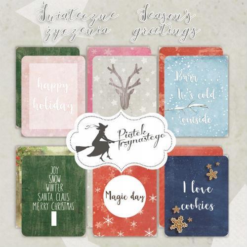 Karty do journalingu Świąteczne Życzenia 7,5x10,5