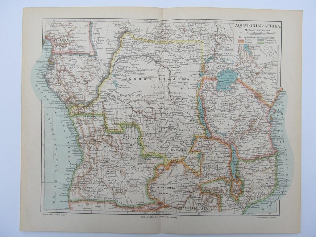 AFRYKA RÓWNIKOWA mapa 1894 r.