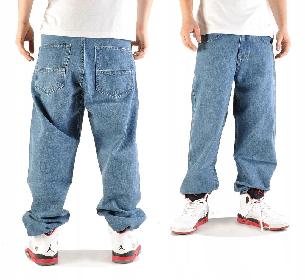 Spodnie 34 Mass Denim Slang Baggy Jeans jasne