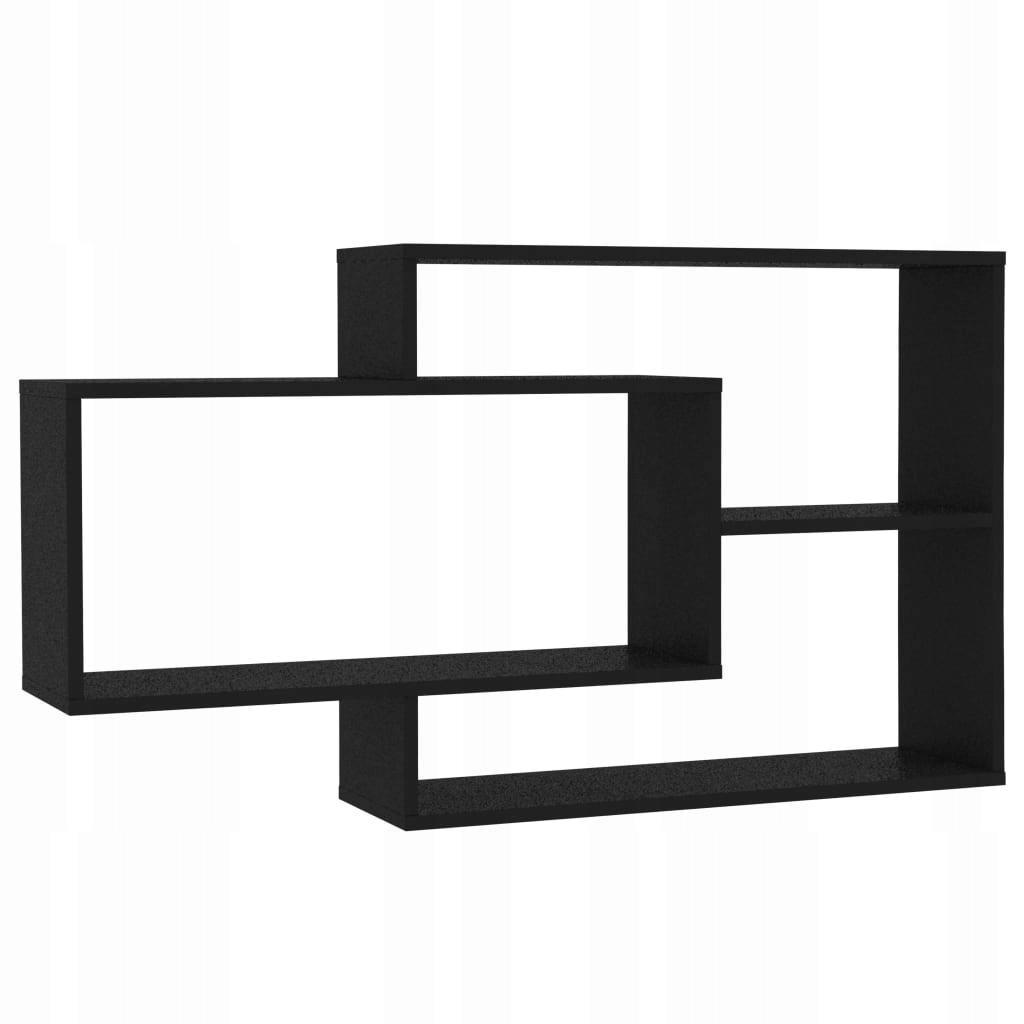 Półki ścienne, czarne, 104x24x60 cm, płyta wiórowa