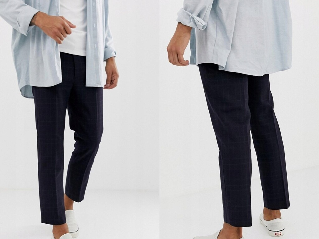 Weekday - Granatowe eleganckie spodnie W34