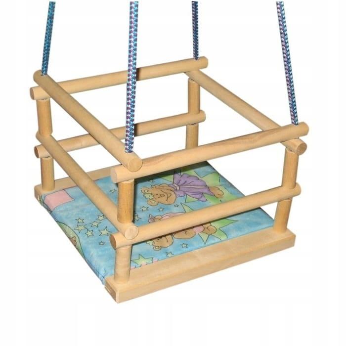 Huśtawka Drewniana dla Dzieci Ogród Dom + PODUSZKA