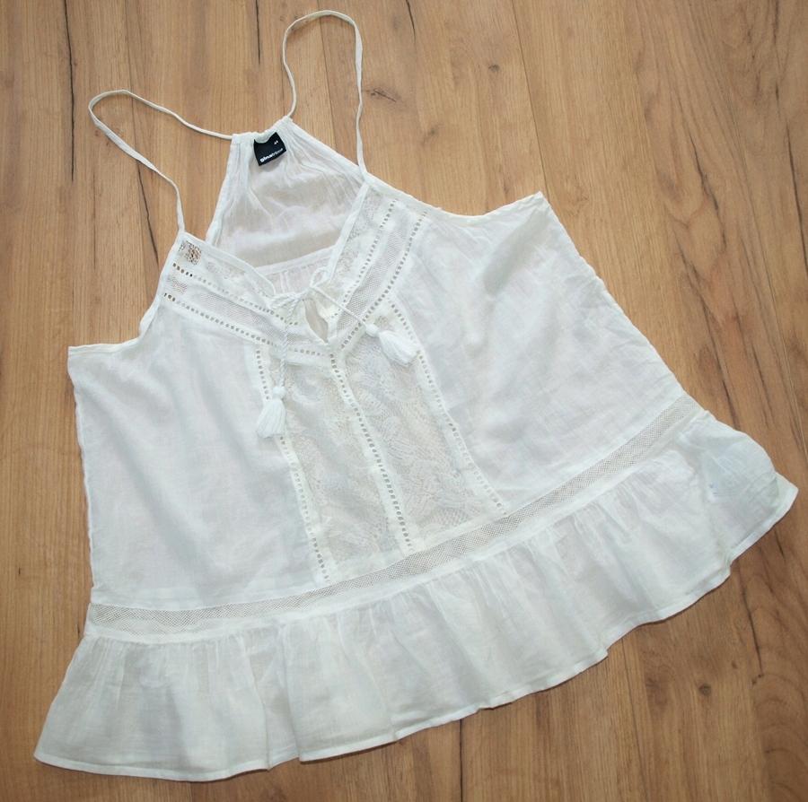 ginatricot biała bluzeczka koronki 44