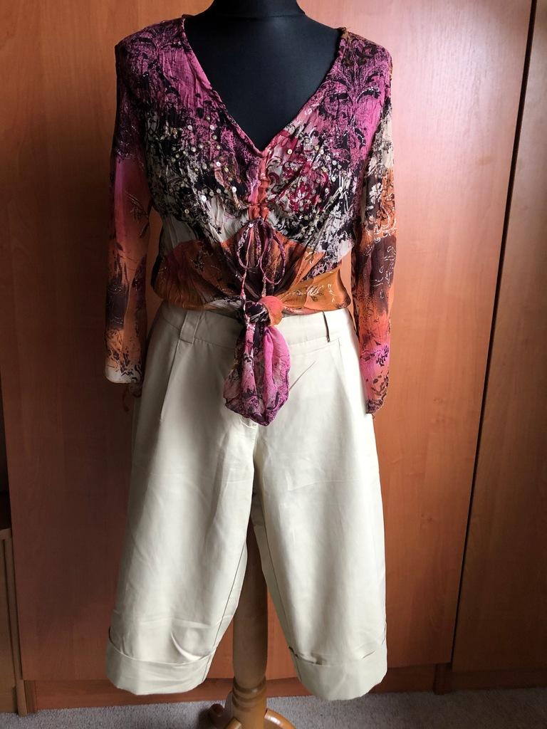 Spodnie Bermudy +Bluzka szyfon cekiny ombre 40/42