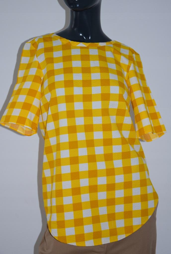 cos żółta bluzka bawełna krata r.36/S
