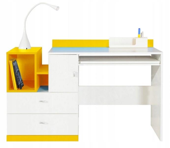 Nowoczesne Biurko 130cm Biało Żółte MOBI 11