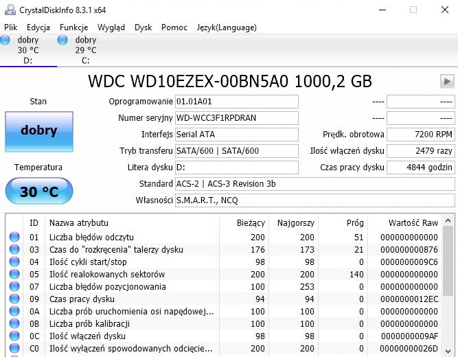 HDD Western Digital - WD10EZEX - 1000GB-1TB 64MB