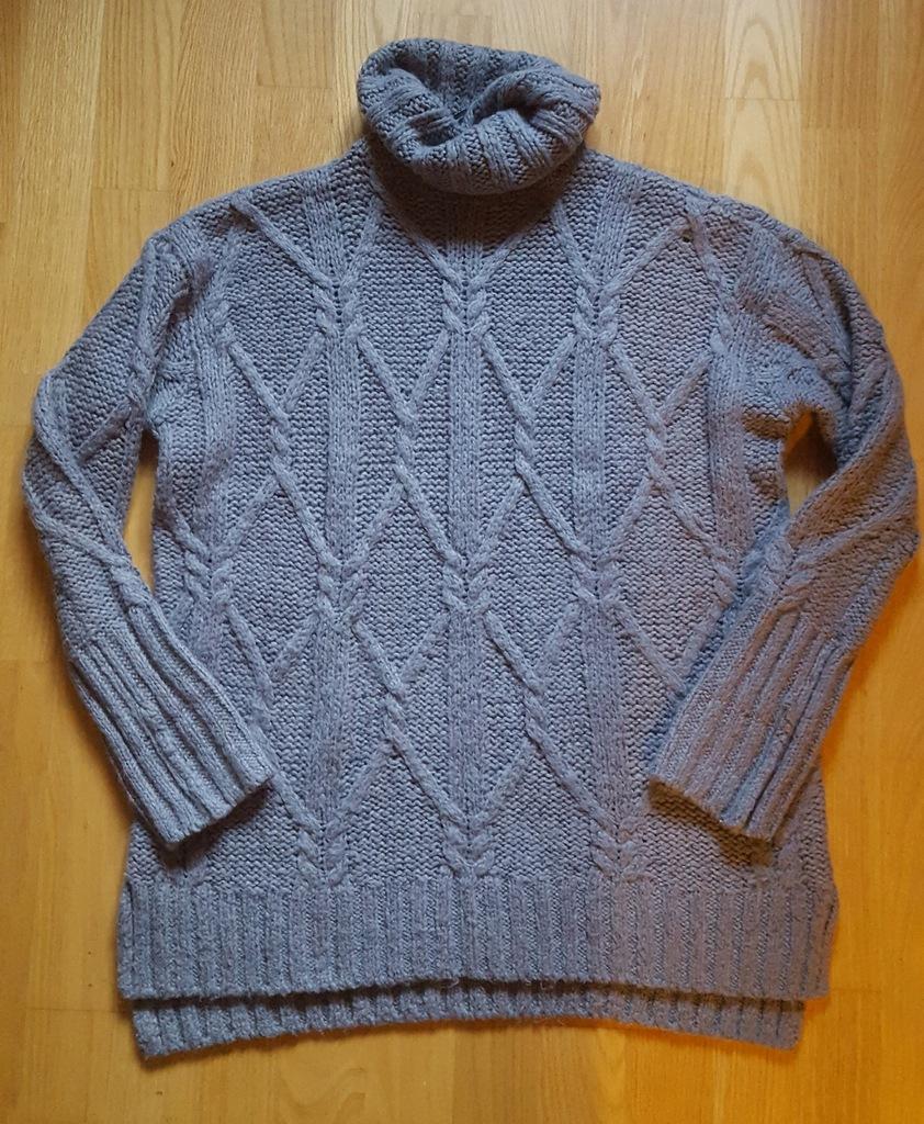 H&M pleciony CIEPŁY sweter wrzos z wełną S