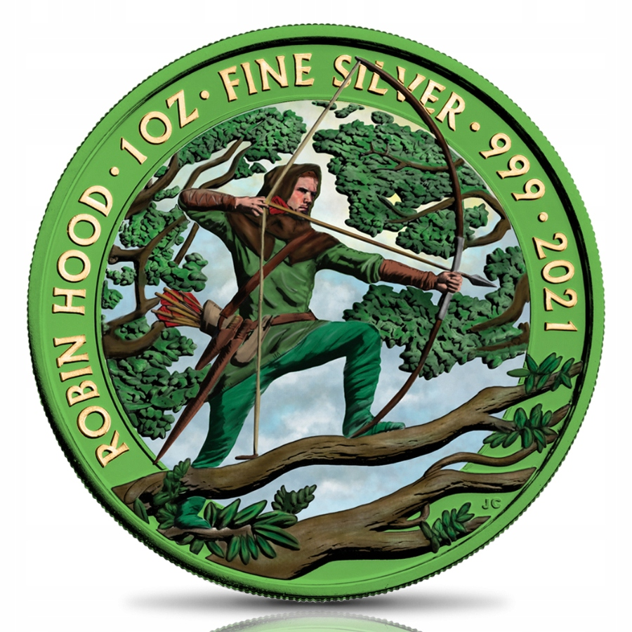 UK 2021 - 2 POUNDS Robin Hood - SPACE GREEN COLOR