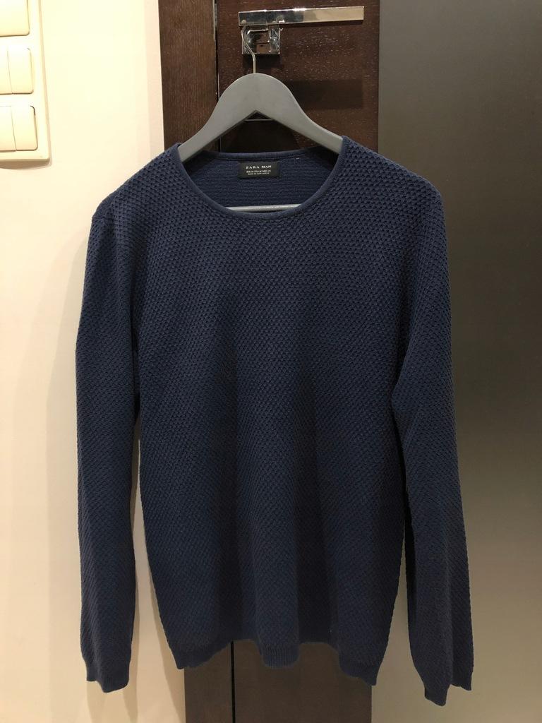 Sweter Zara męski M granatowy niebieski ciepły