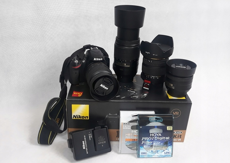 NIKON D3200 plus zestaw obiektywów i filtrów