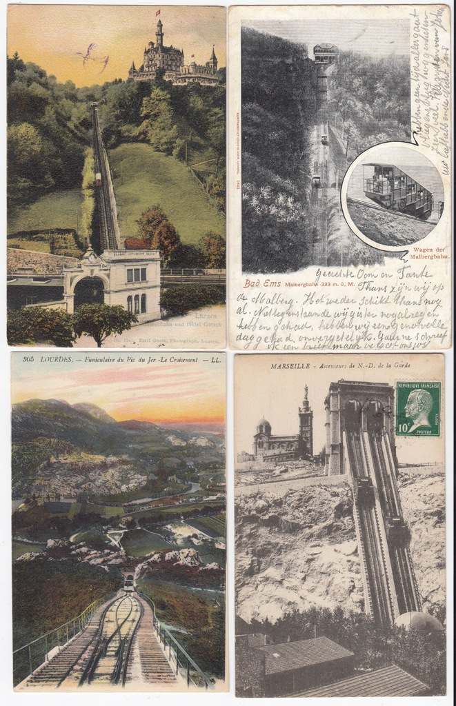 Stare pocztówki KOLEJ GÓRSKA (4 szt.) 4K54