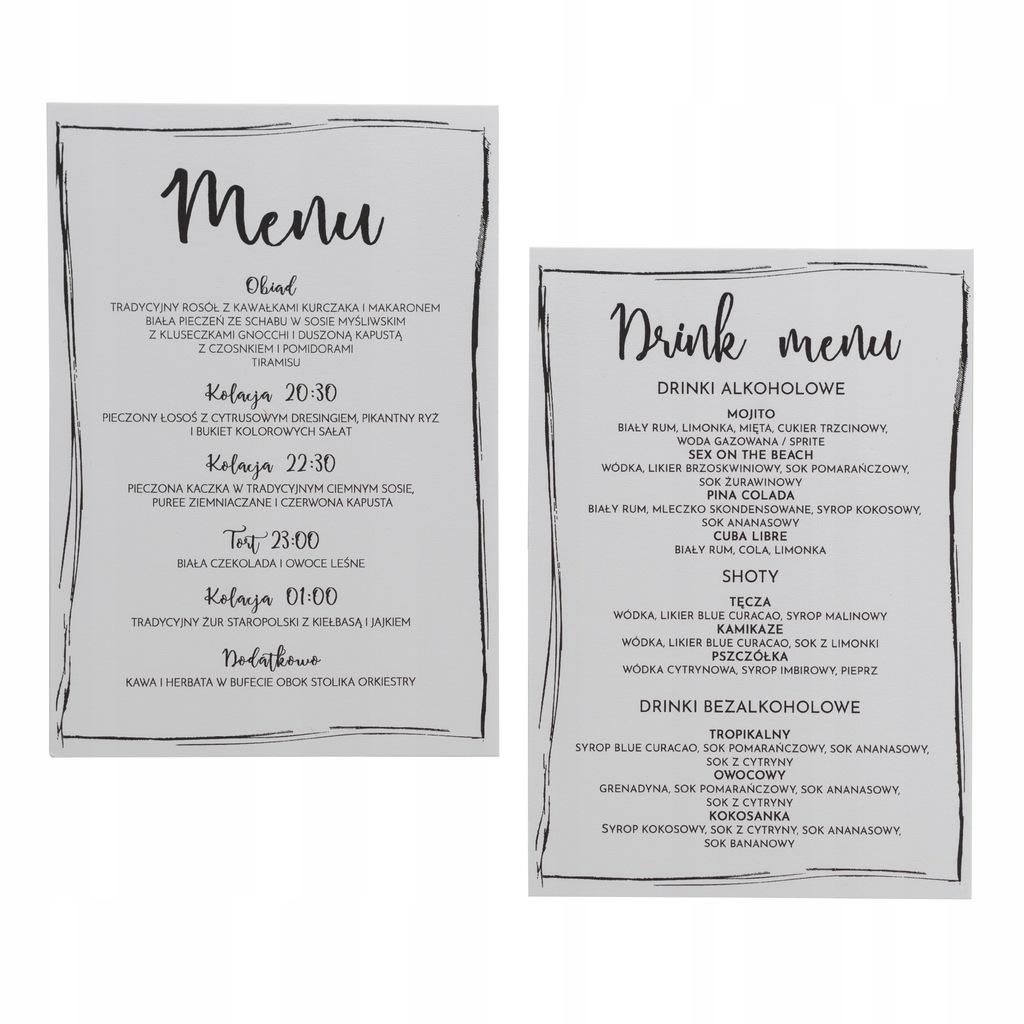 Menu weselna karta dań drink menu rustykalneProste