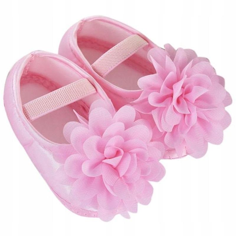 Buty Buciki Niemowlę Dziecko 10,5cm różowe kwiatek
