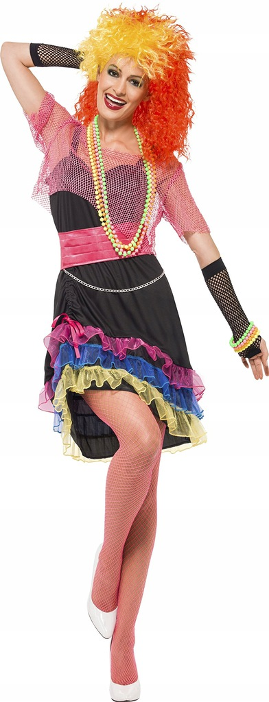Smiffy's 80's Fun Girl Costume with Top and Belt -