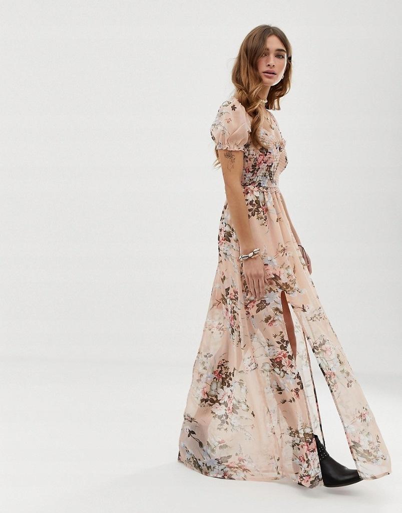 sukienka MAXI nude W KWIATY boho XL 42 - 7913106759