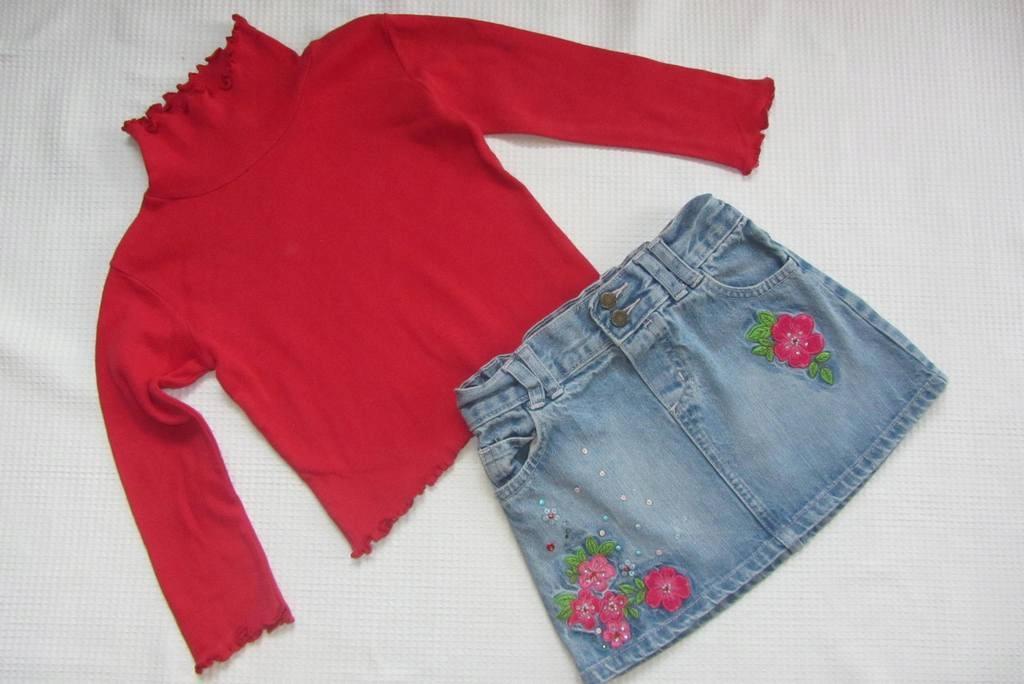 jeansowa spódniczka+sweterek r.92_CHEROKEE