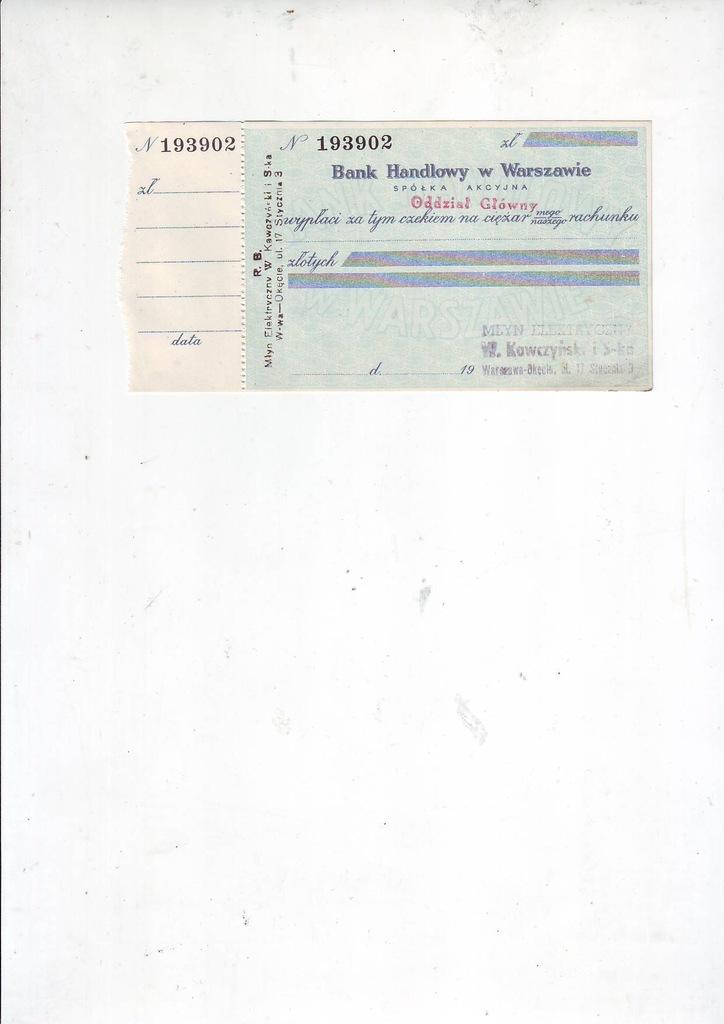 Bank Handlowy oddział Główny, czek przedwojenny