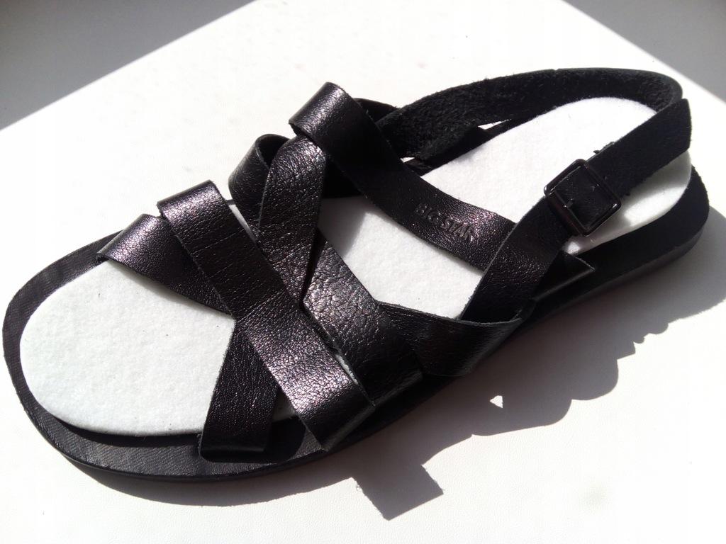 BIG STAR sandały męskie skórzane 42 czarne nowe!