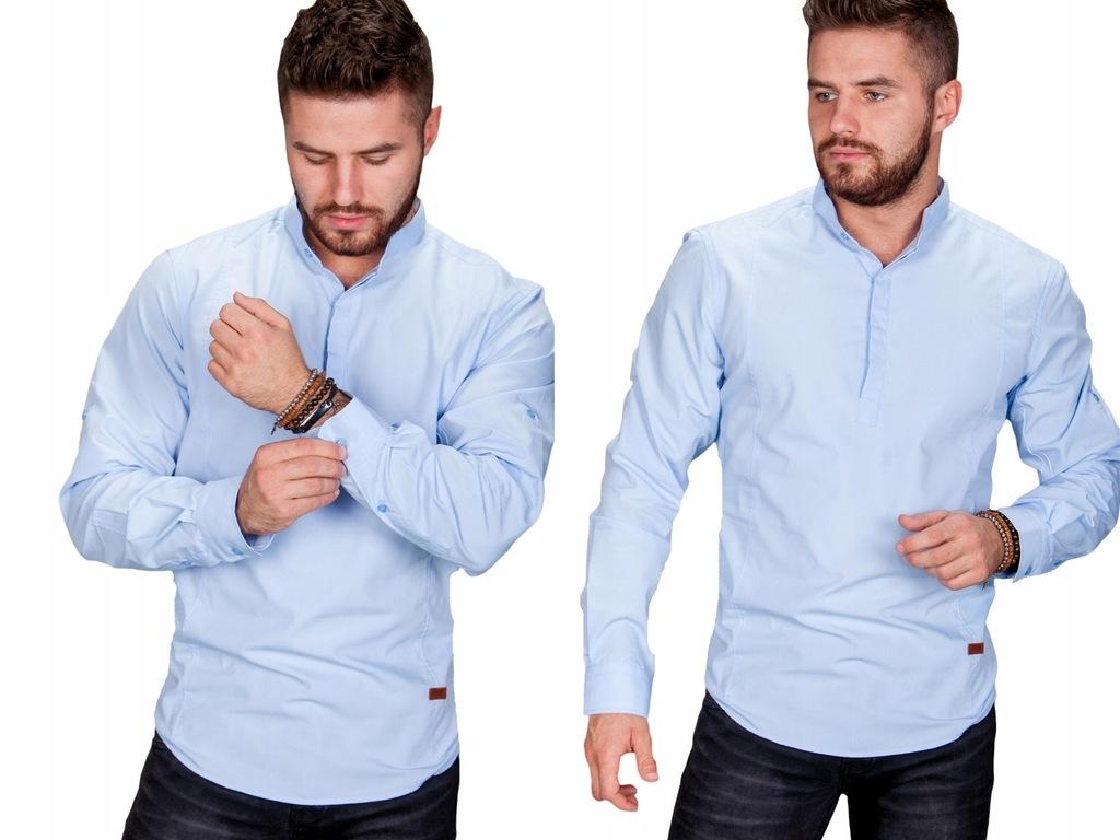 Koszula błękitna stójka MB-02 r.M fashionmen2