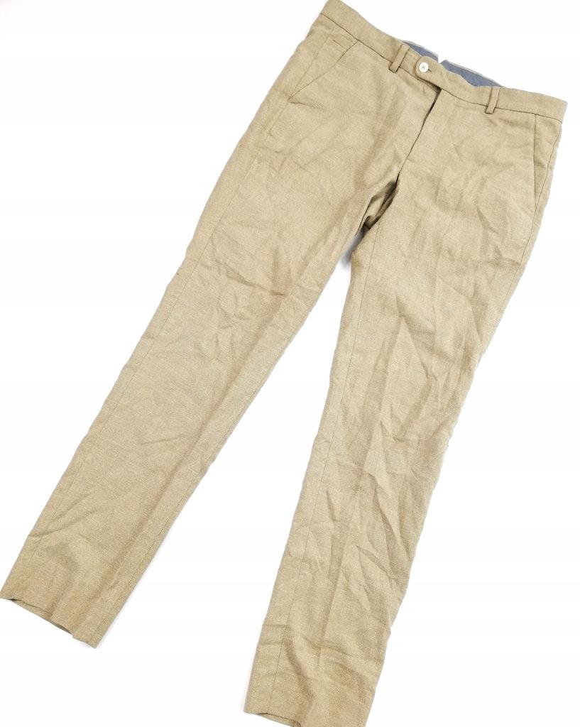 MASSIMO DUTTI Lniane eleganckie spodnie 32 C-975-7
