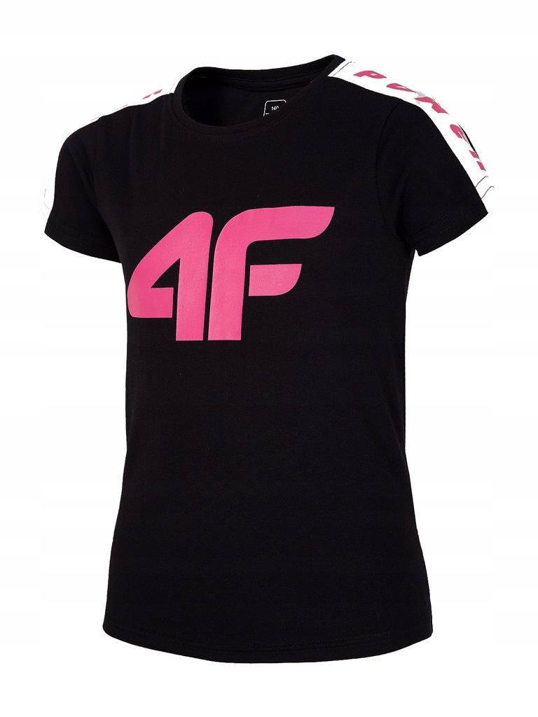 T-shirt dziewczęcy 4F koszulka JTSD004 czarna 146