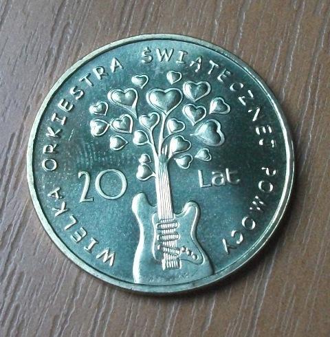 moneta 2zł, XX lat WOŚP, stan menniczy, 2012r.