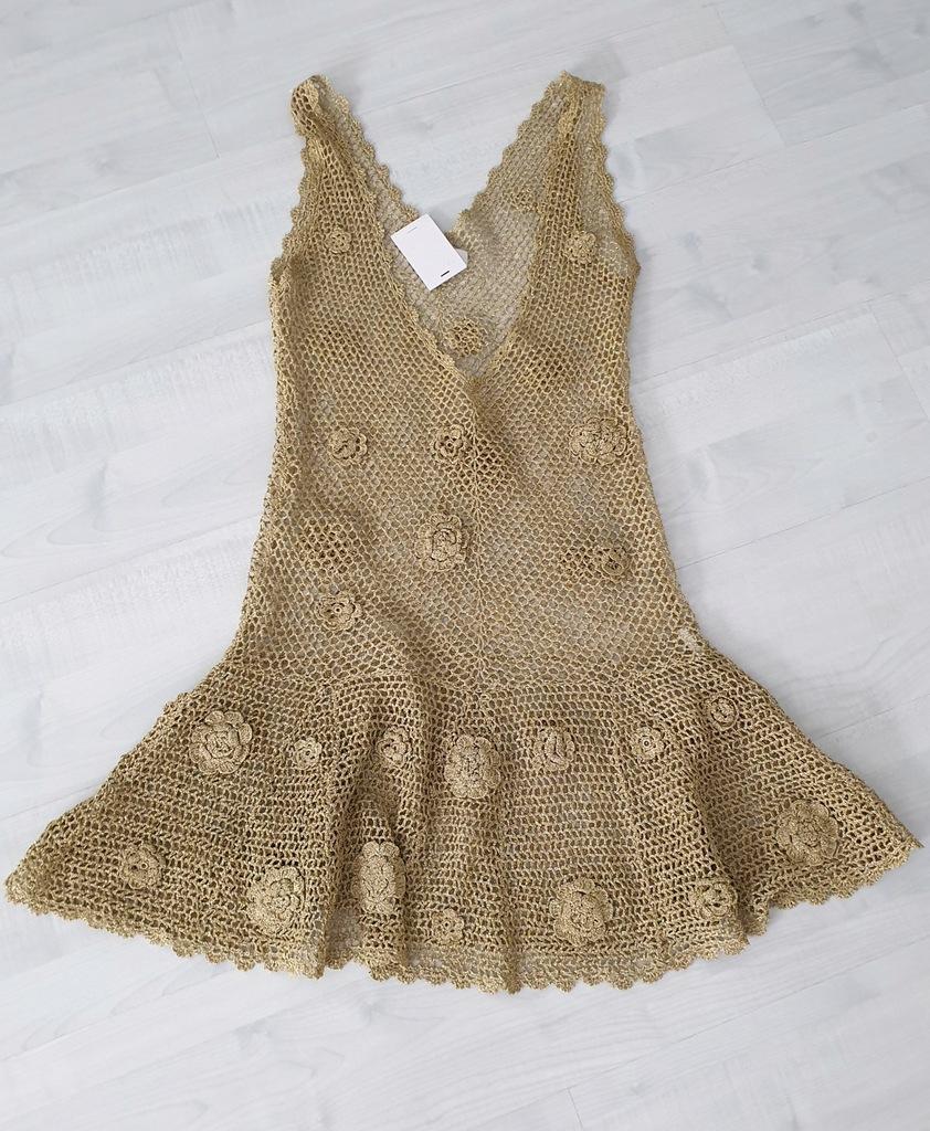 Patrizia Pepe sukienka koronka złota plaża roz M/L