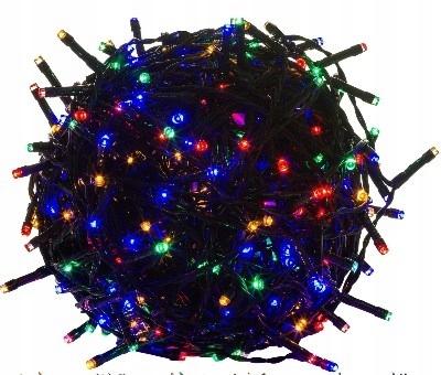 Lampki choinkowe 50 LED kolorowe, zielony kabel, I