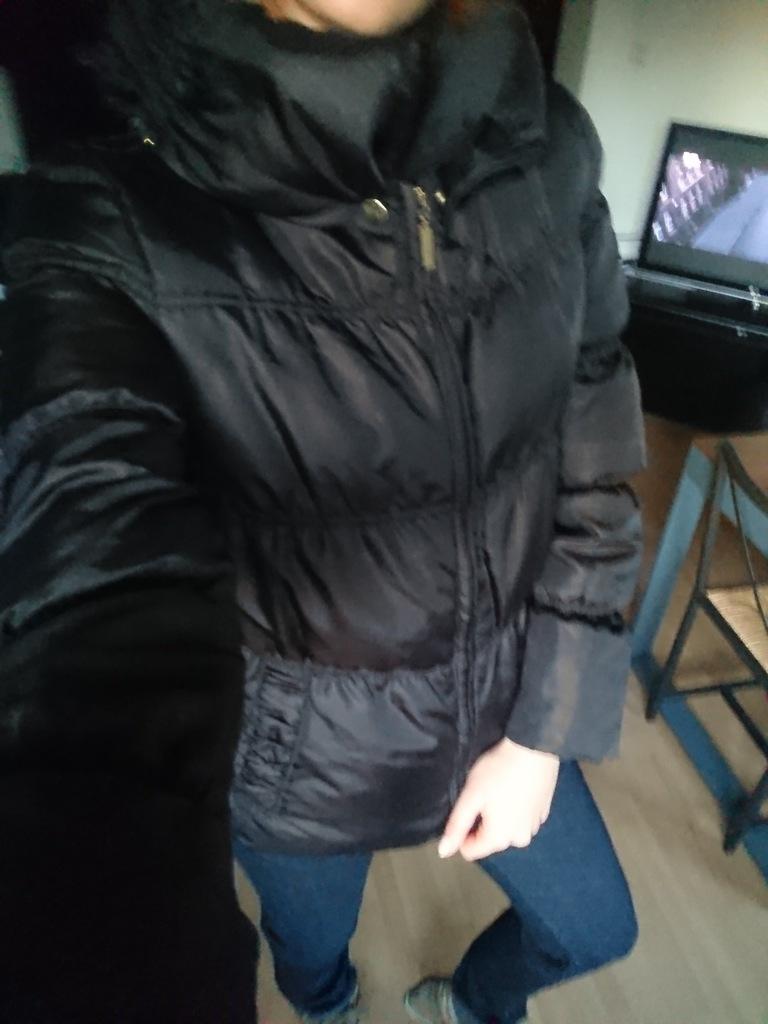 zara basic m ciepła pikowana kurtka
